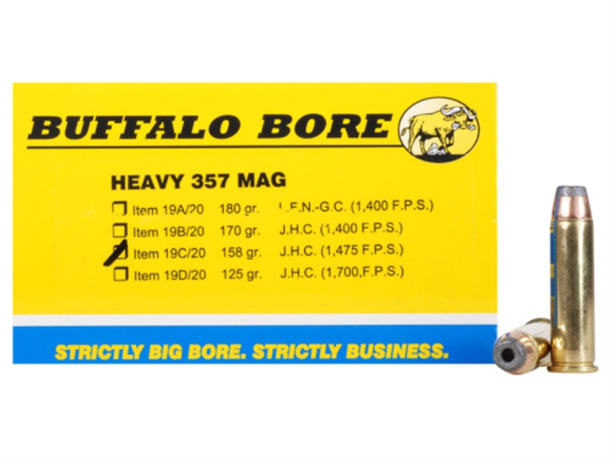 Buffalo Bore Ammunition 357 Magnum 158 Grain Semi-Jacketed Hollow Point High Velocity B...