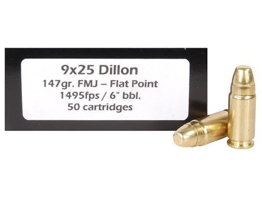 Doubletap Ammunition 9x25mm Dillon 147 Grain Full Metal Jacket Flat Point Box of 50