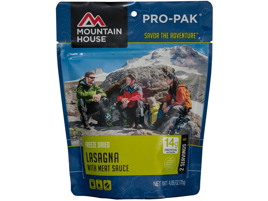 Mountain House 2 Serving Lasagna with Meat Sauce Freeze Dried Food Pro-Pak 4.06 oz