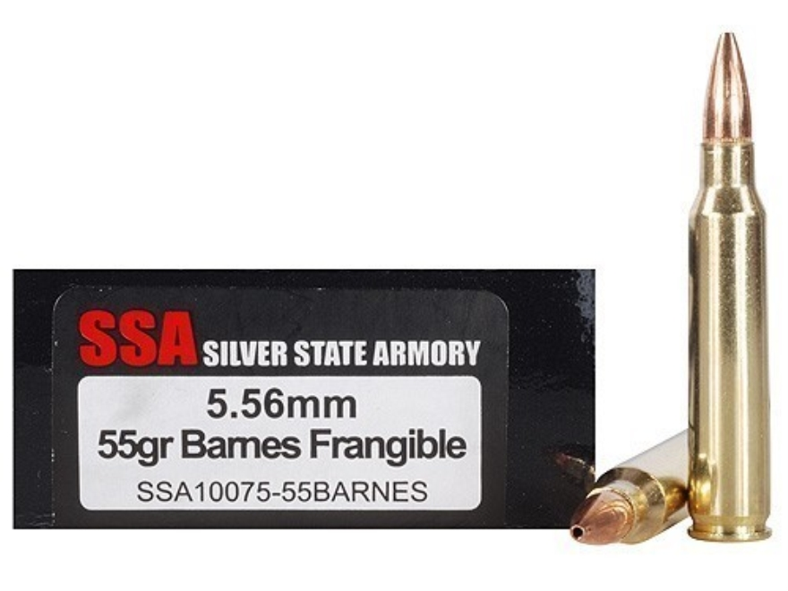 Silver State Armory Ammunition 5.56x45mm NATO 55 Grain Barnes RRLP Frangible Lead-Free ...
