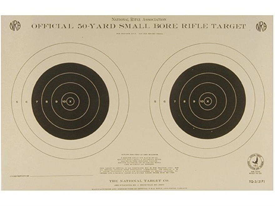 NRA Official Smallbore Rifle Training Targets TQ-3/2 50 Yard Paper Pack of 100