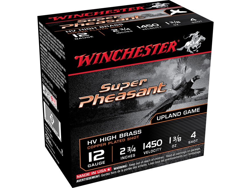 "Winchester Super-X Super Pheasant Ammunition 12 Gauge 2-3/4"" 1-3/8 oz #4 Copper Plated ..."