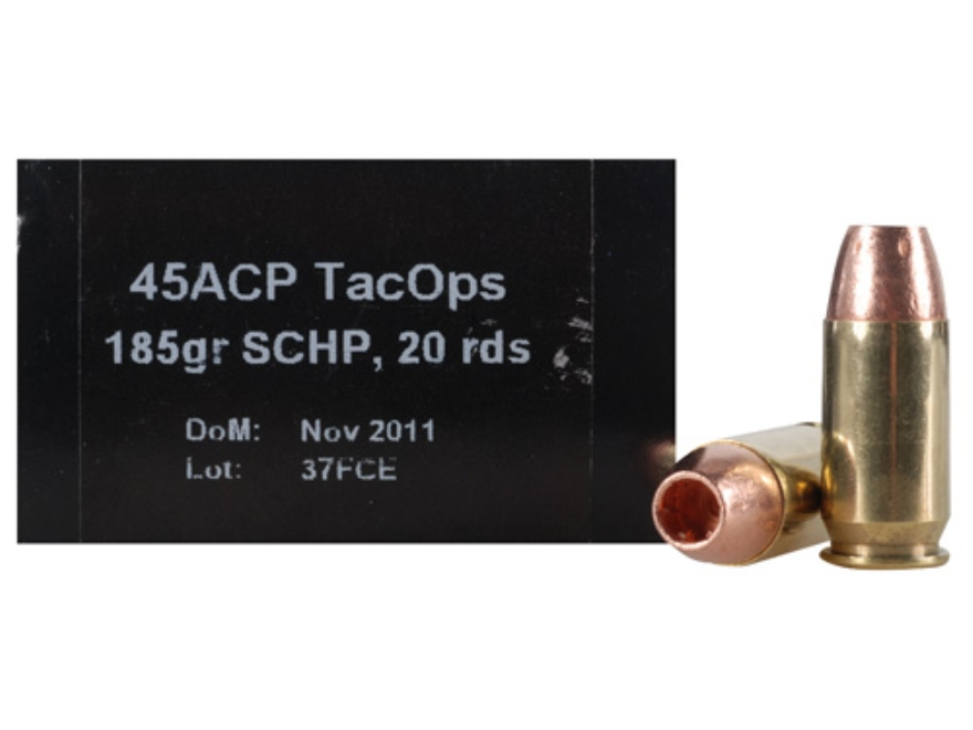 PNW Arms TacOps Ammunition 45 ACP 185 Grain Solid Copper Hollow Point Lead-Free Box of 20