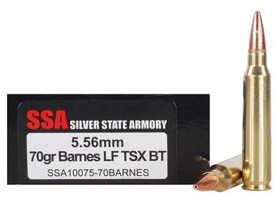 Silver State Armory Ammunition 5.56x45mm NATO 70 Grain Barnes Triple-Shock X Bullet Hol...