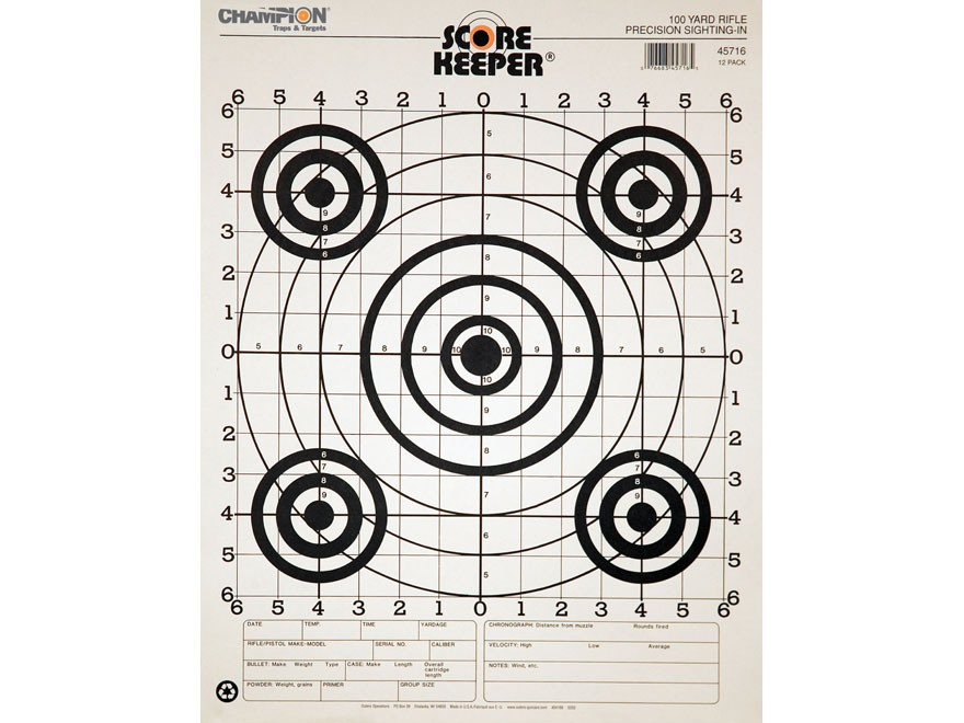 "Champion Score Keeper 100 Yard Sight-In Rifle Targets 14"" x 18"" Paper Black Bull Pack o..."