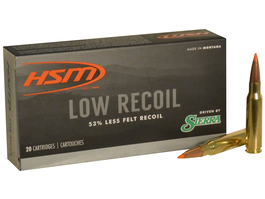 HSM Low Recoil Ammunition 308 Winchester 150 Grain Sierra Tipped Spitzer Boat Tail Box ...
