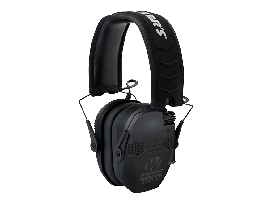 Walker's Razor Slim Quad Electronic Earmuffs with Bluetooth (NRR 23dB) Black
