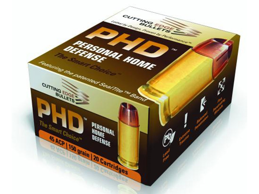 Cutting Edge Bullets PHD Ammunition .45ACP 150 Grain HG Raptor Hollow Point Copper Lead...