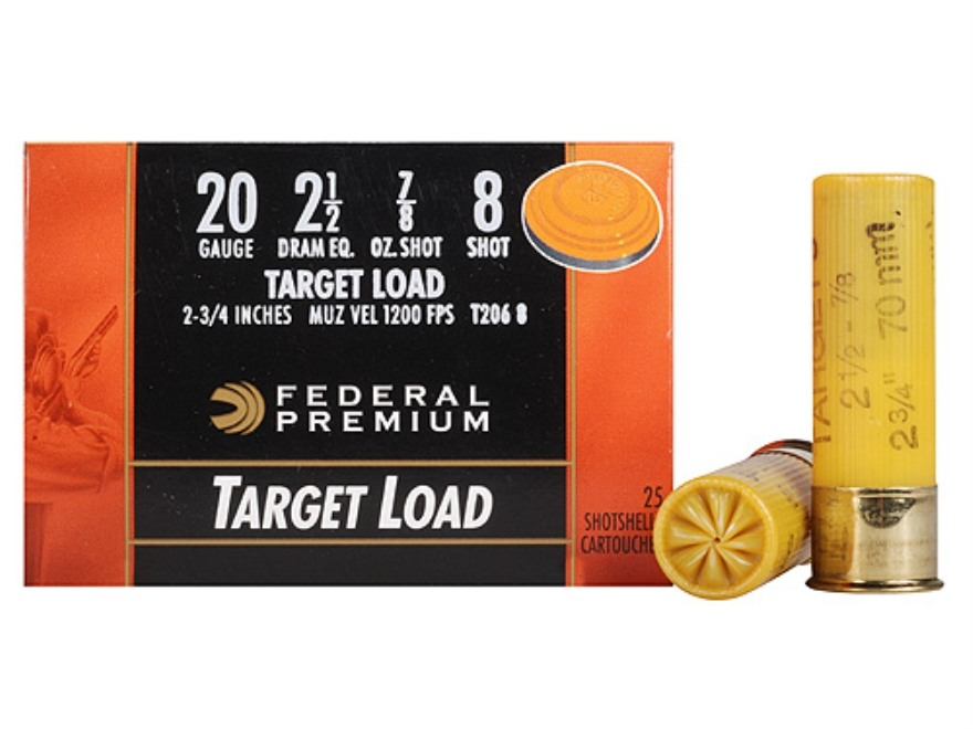 "Federal Premium Gold Medal Ammunition 20 Gauge 2-3/4"" 7/8 oz #8 Shot"