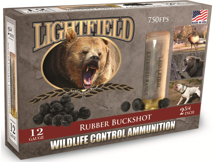 "Lightfield Wildlife Control Less Lethal Ammunition 12 Gauge 2-3/4"" Rubber Buckshot 21 P..."