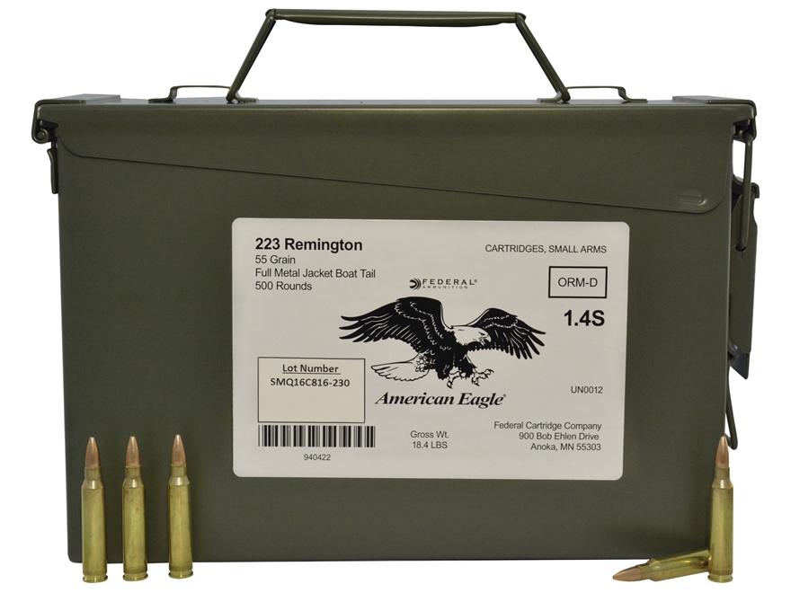 Federal American Eagle Ammunition 223 Remington 55 Grain Full Metal Jacket Boat Tail Am...