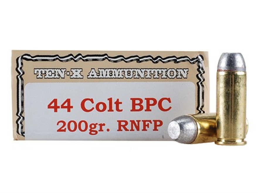 Ten-X Cowboy Ammunition 44 Colt 200 Grain Lead Round Nose Flat Point BPC Box of 50