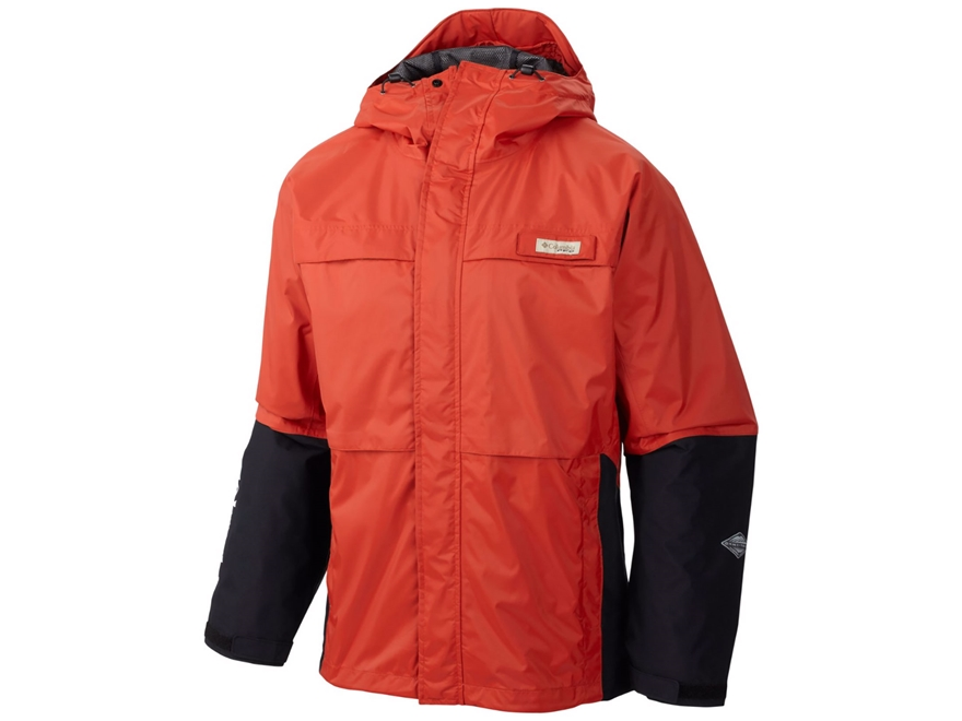 Columbia Men's PFG American Angler Waterproof Rain Jacket Nylon Sail Red