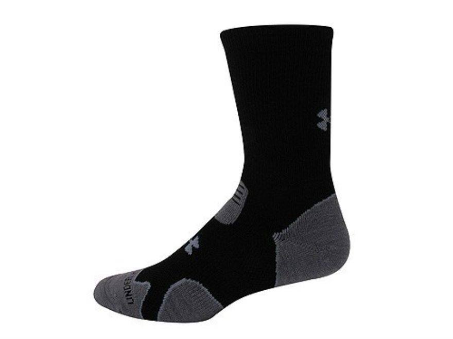 Under Armour Men's Hitch Heavy Cushion Boot Socks Synthetic Blend Black/Gray Large (9-1...