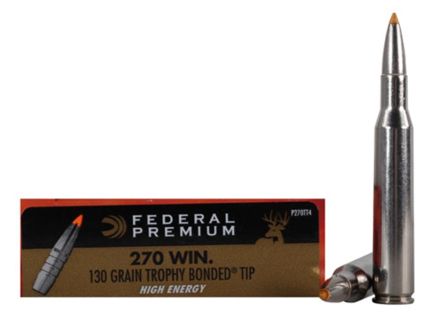 Federal Premium Vital-Shok Ammunition 270 Winchester 130 Grain Trophy Bonded Tip High E...