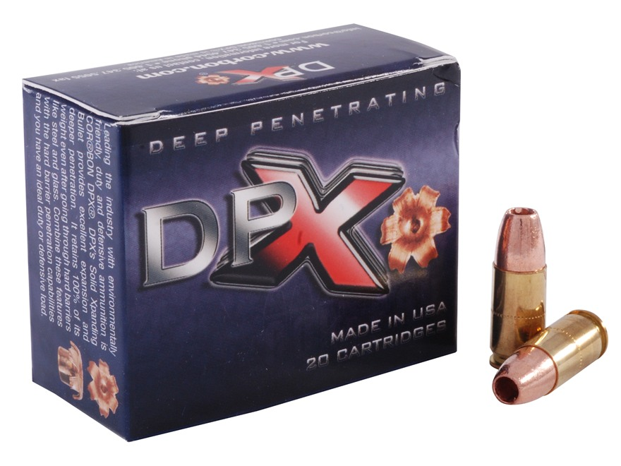 Cor-Bon DPX Ammunition 9mm Luger +P 115 Grain DPX Hollow Point Lead-Free Box of 20