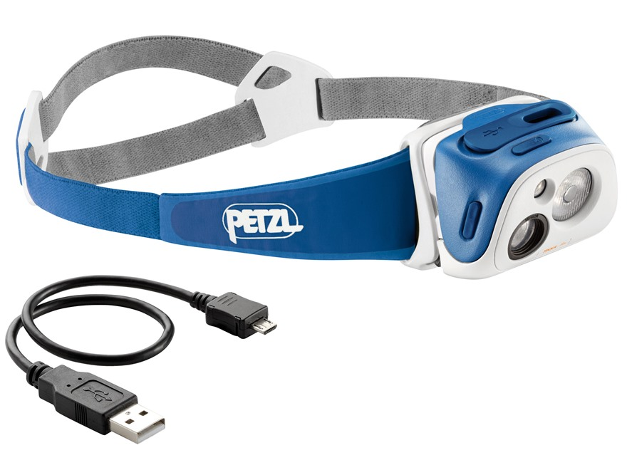 Petzl Tikka R+ Reactive Lighting Headlamp LED with Rechargeable Battery Polymer Blue