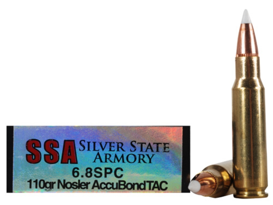 Silver State Armory Ammunition 6.8mm Remington SPC 100 Grain Nosler AccuBond Tactical B...