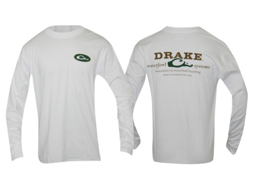 Drake Men's Logo T-Shirt Long Sleeve Cotton White 2XL