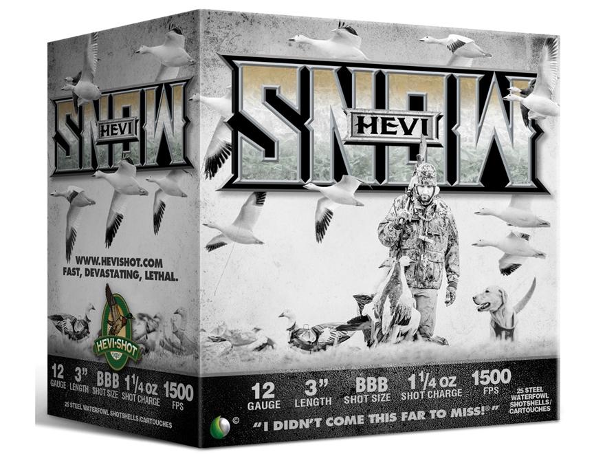 "Hevishot Hevi-Snow Waterfowl Ammunition 12 Gauge 3"" 1-1/4 oz BBB Non-Toxic Shot"