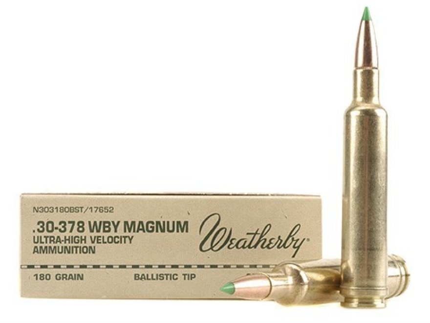 Weatherby Ammunition 30-378 Weatherby Magnum 180 Grain Nosler Ballistic Tip Box of 20
