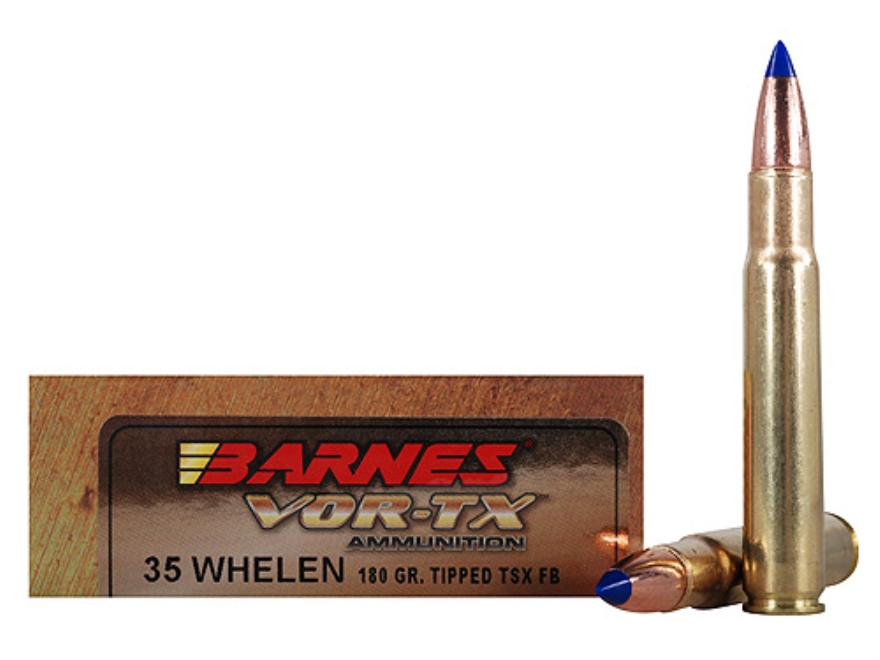 Barnes VOR-TX Ammunition 35 Whelen 180 Grain Tipped Triple-Shock X Bullet Flat Base Box...