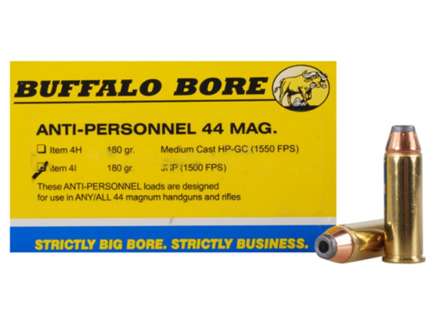 Buffalo Bore Ammunition 44 Remington Magnum 180 Grain Jacketed Hollow Point Anti-Person...