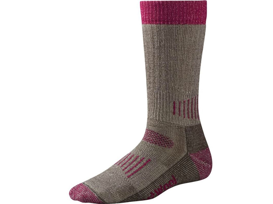 Smartwool Women's Hunt Medium Crew Socks Merino Wool Taupe and Berry 1 Pair