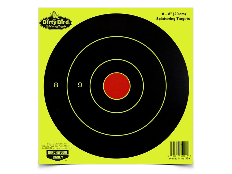 "Birchwood Casey Dirty Bird Yellow 8"" Bullseye Targets Pack of 50"