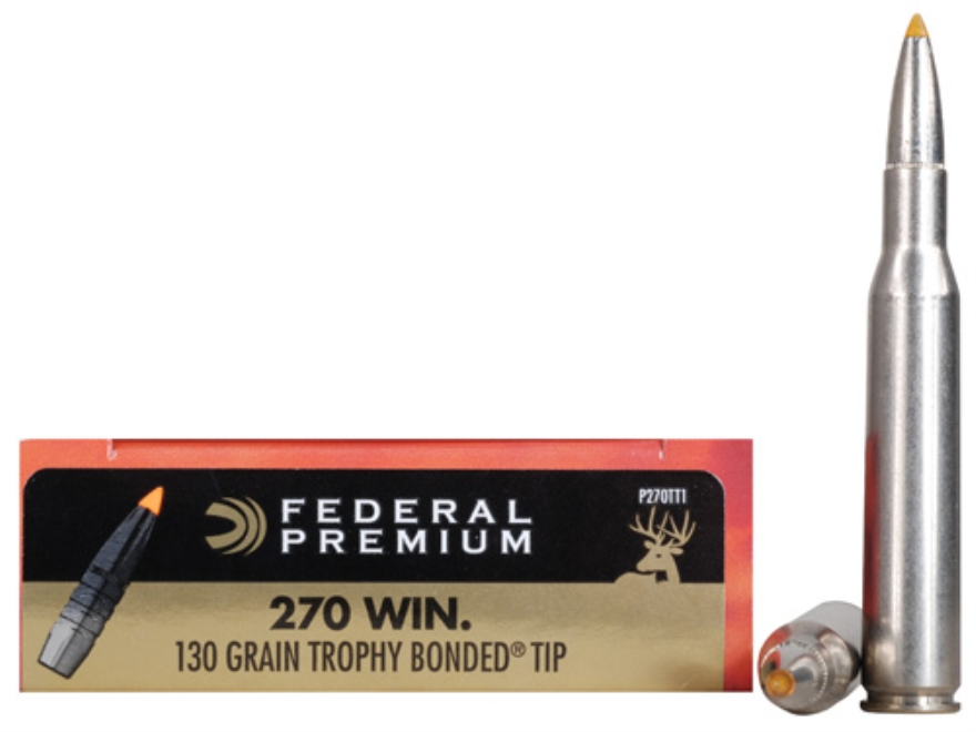 Federal Premium Vital-Shok Ammunition 270 Winchester 130 Grain Trophy Bonded Tip Box of 20