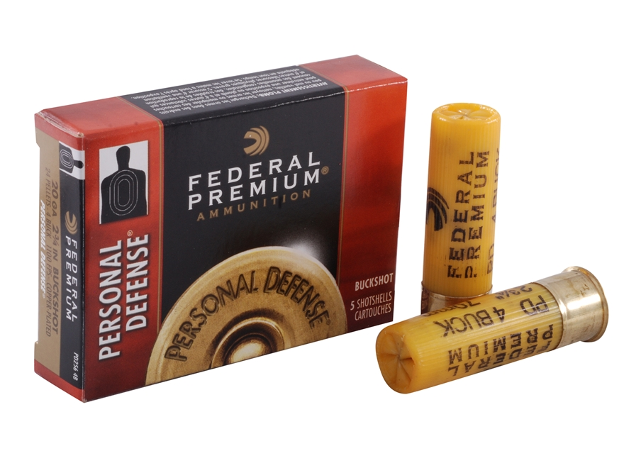 "Federal Premium Personal Defense Ammunition 20 Gauge 2-3/4"" #4 Buckshot Shot 24 Pellets..."