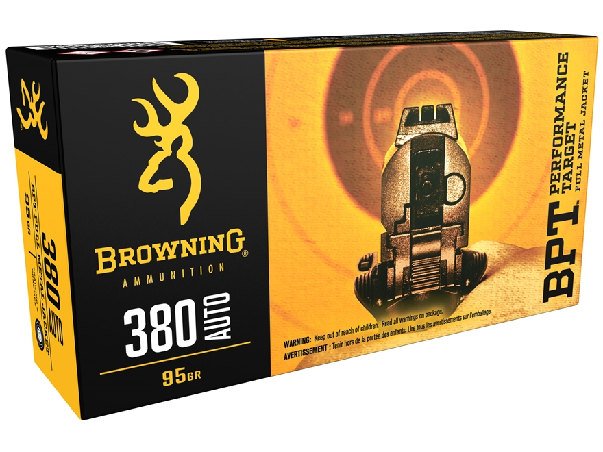 Browning BPT Ammunition 380 ACP 95 Grain Full Metal Jacket