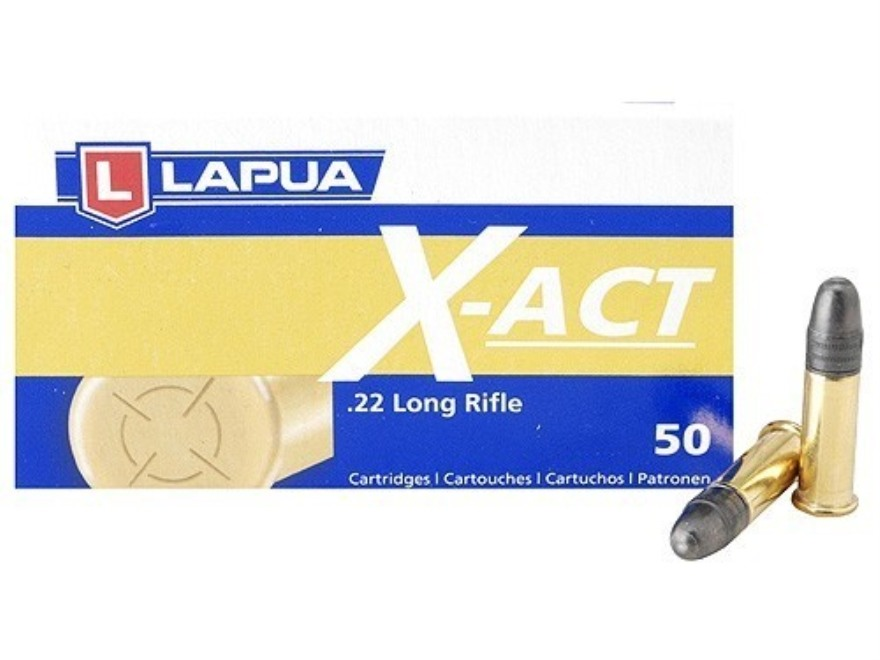 Lapua X-Act Ammunition 22 Long Rifle 40 Grain Lead Round Nose Box of 50