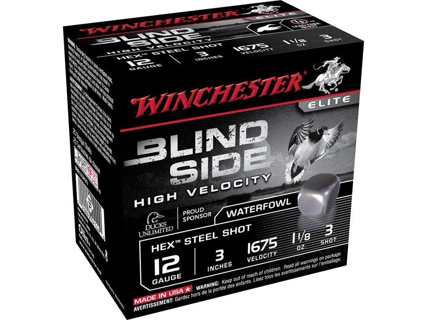 "Winchester Blind Side High Velocity Ammunition 12 Gauge 3"" 1-1/8 oz #3 Non-Toxic Steel ..."
