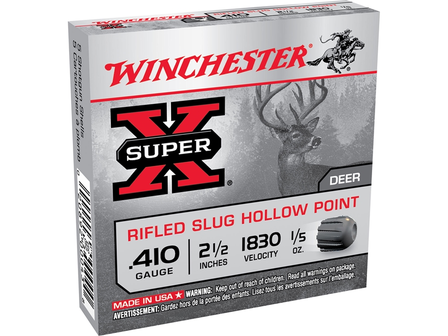 "Winchester Super-X Ammunition 410 Bore 2-1/2"" 1/5 oz Rifled Slug Box of 5"