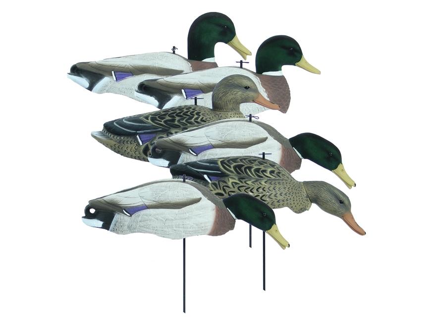 Higdon Magnum Full Form Flocked Head Mallard Shell Duck Decoy Polymer Pack of 6