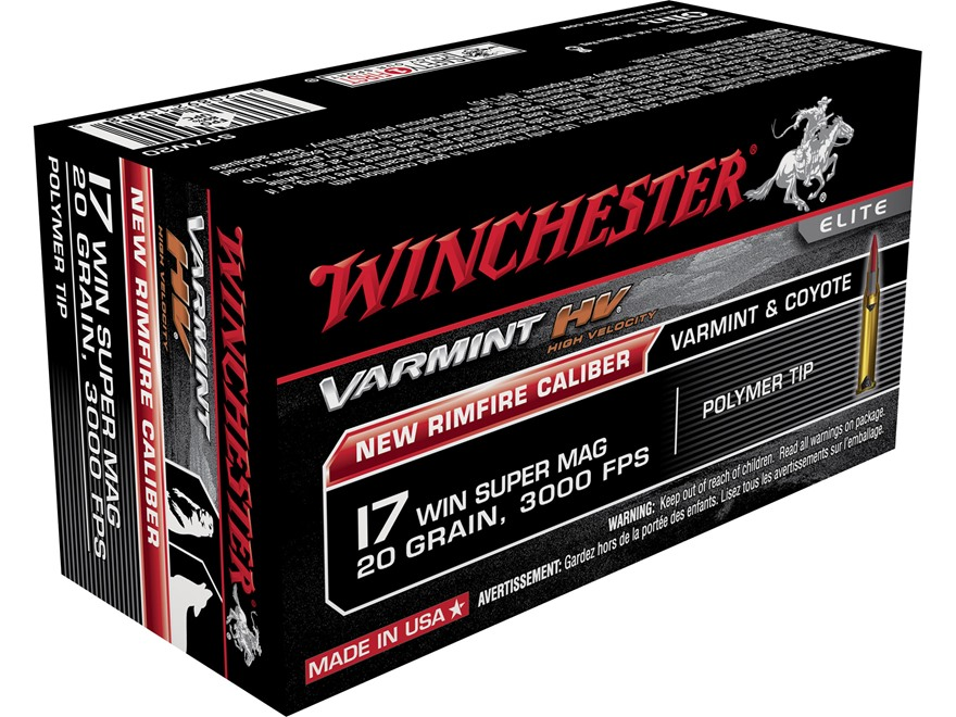 Winchester Varmint High Velocity Ammunition 17 Winchester Super Magnum 20 Grain Hornady...