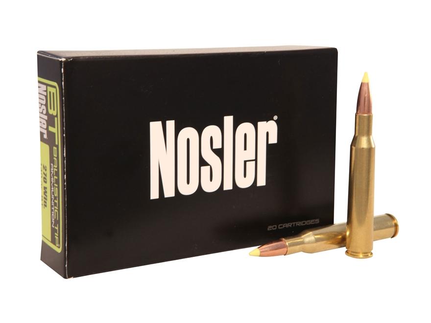 Nosler BT Ammunition 270 Winchester 140 Grain Ballistic Tip Box of 20