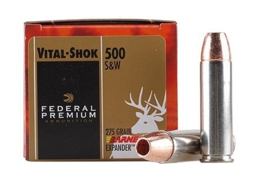 Federal Premium Vital-Shok Ammunition 500 S&W Magnum 275 Grain Barnes XPB Hollow Point ...