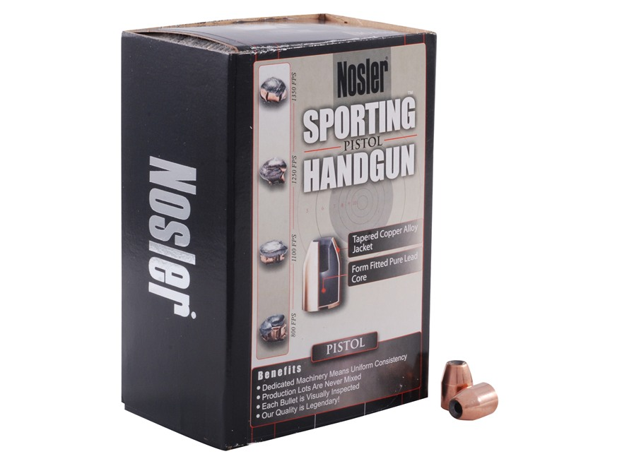 Nosler Sporting Handgun Bullets 45 Caliber (451 Diameter) 230 Grain Jacketed Hollow Poi...