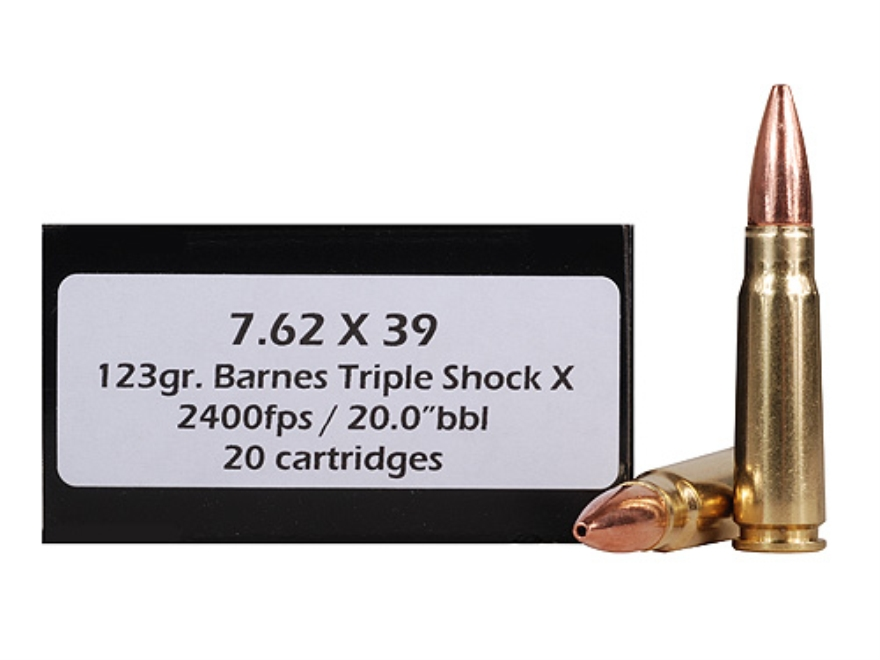 Doubletap Ammunition 7.62x39mm 123 Grain Barnes Triple-Shock X Bullet Hollow Point Lead...