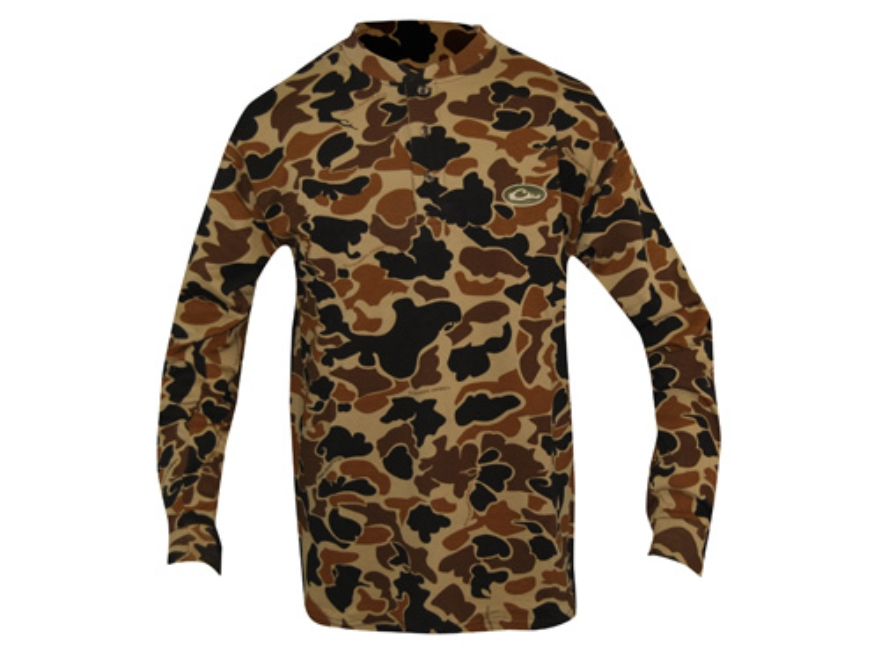 Drake Men's Old School Henley T-Shirt Cotton Polyester Blend Old School Camo XL