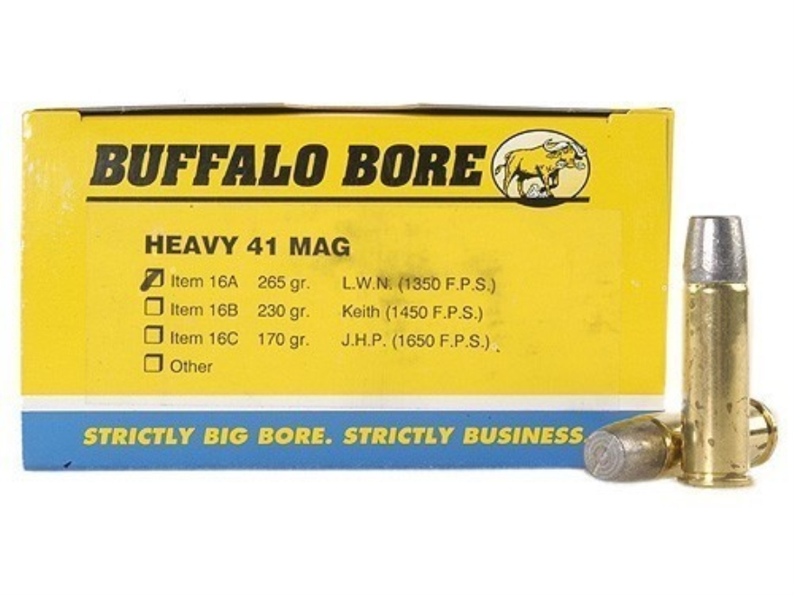 Buffalo Bore Ammunition 41 Remington Magnum 265 Grain Lead Wide Long Nose
