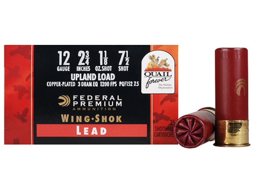"Federal Premium Wing-Shok Quail Forever Ammunition 12 Gauge 2-3/4"" 1-1/8 oz #7-1/2 High..."