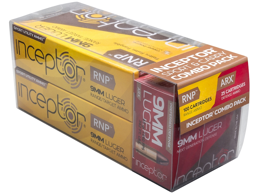 Polycase Inceptor Ammunition Sport and Carry Combo Pack 9mm Luger 65 Grain Frangible AR...