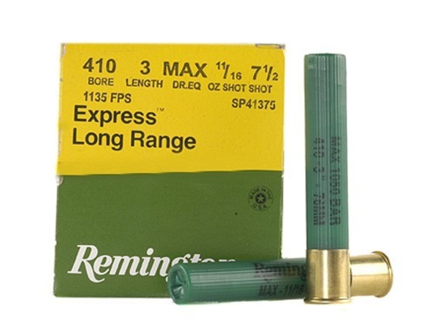 "Remington Express Extra Long Range Ammunition 410 Bore 3"" 11/16 oz #7-1/2 Shot Box of 25"