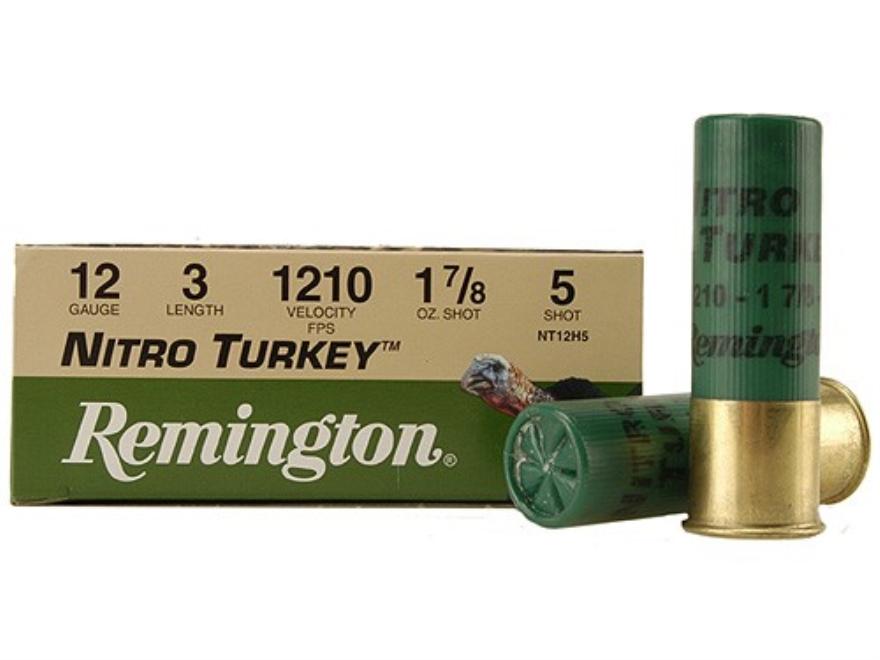 "Remington Nitro Turkey Ammunition 12 Gauge 3"" 1-7/8 oz of #5 Buffered Shot Box of 10"