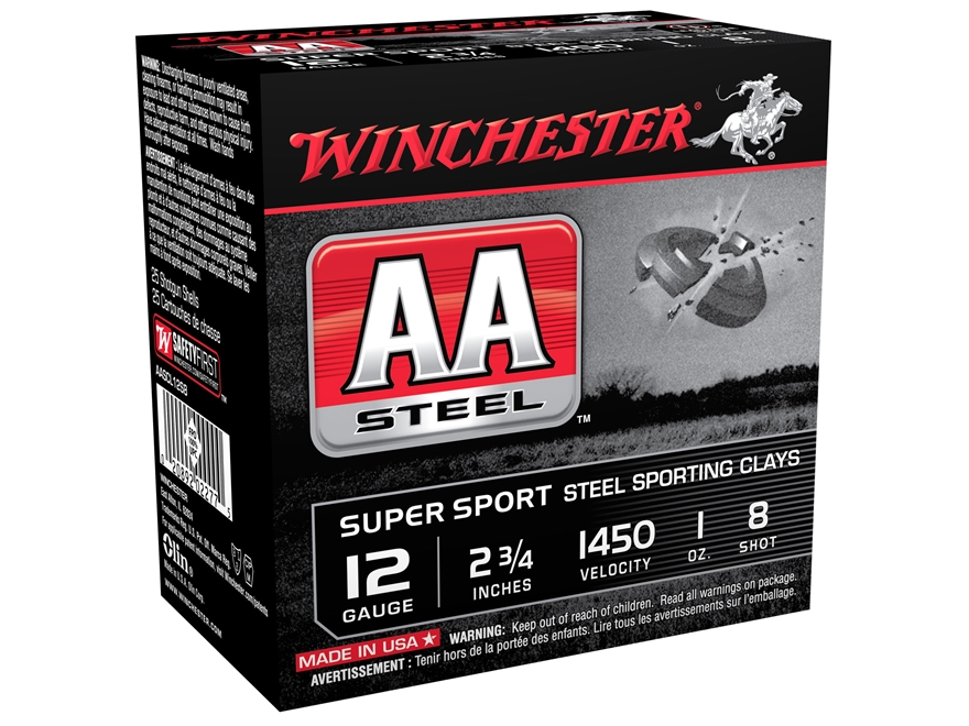 "Winchester AA Super Sport Sporting Clays Ammunition 12 Gauge 2-3/4"" 1 oz #8 Non-Toxic S..."