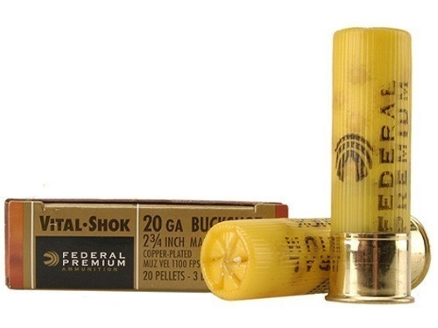 "Federal Premium Vital-Shok Ammunition 20 Gauge 2-3/4"" Buffered #3 Copper Plated Bucksho..."