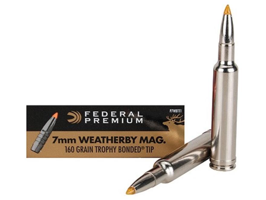 Federal Premium Ammunition 7mm Weatherby Magnum 160 Grain Trophy Bonded Tip Box of 20